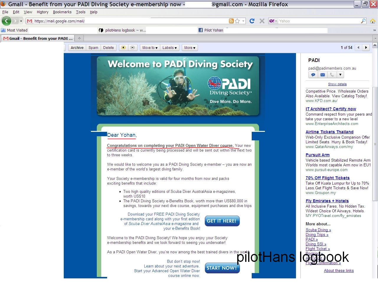 Email From Padi Open Water Course Padi Pilothans Logbook